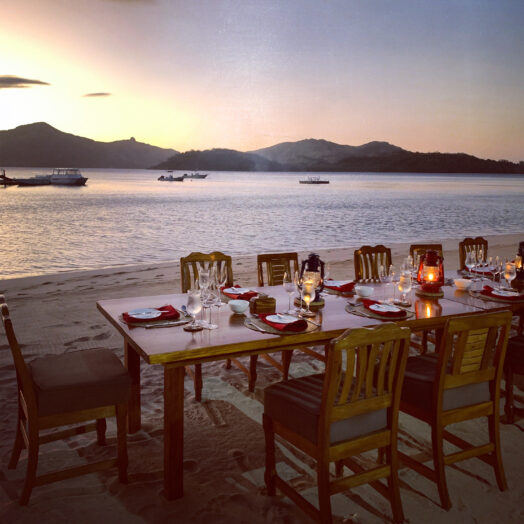 dining at Turtle Island, Fiji
